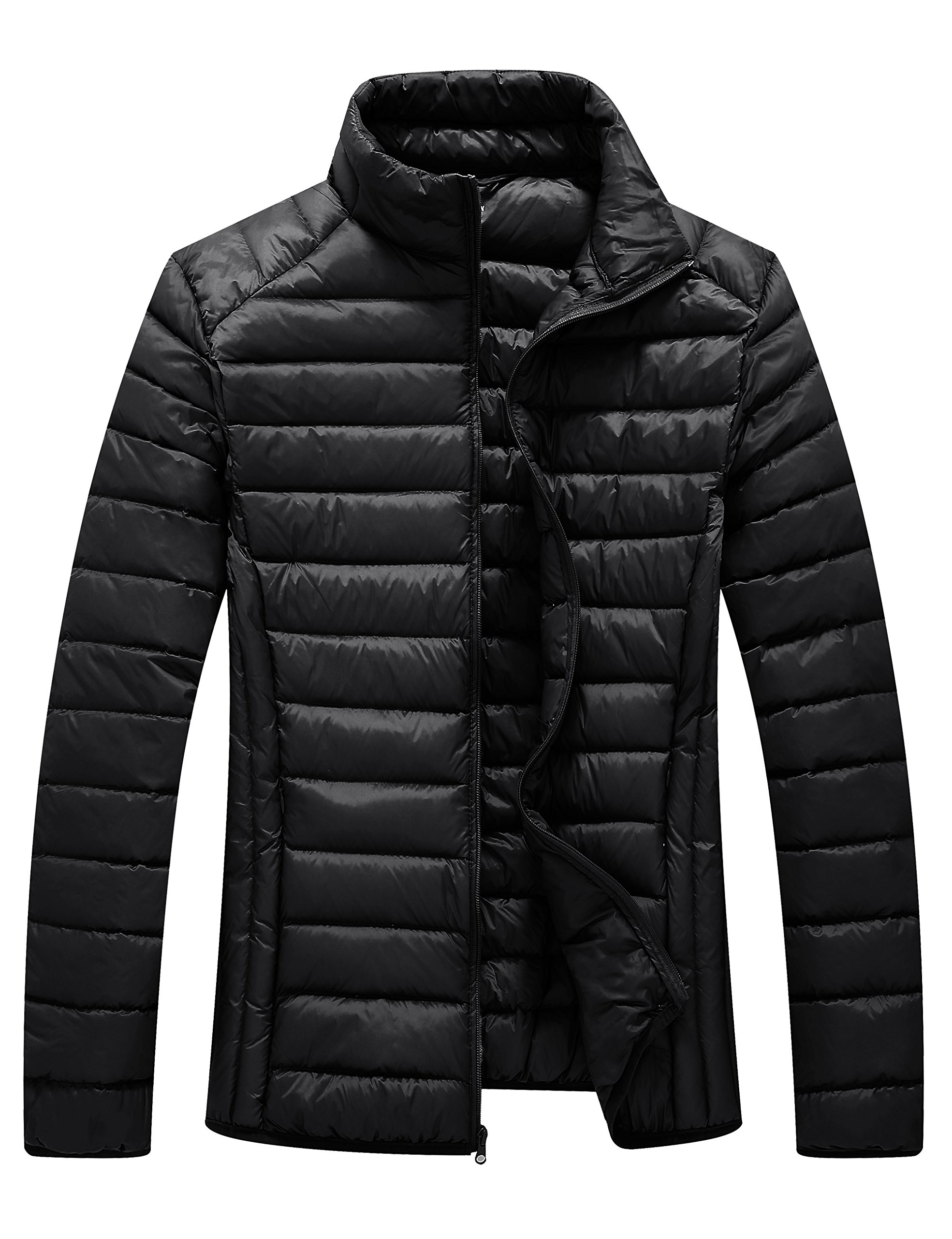 WenVen Men's Wearable Packable Down Jacket Light Weight(Black,US Size S)