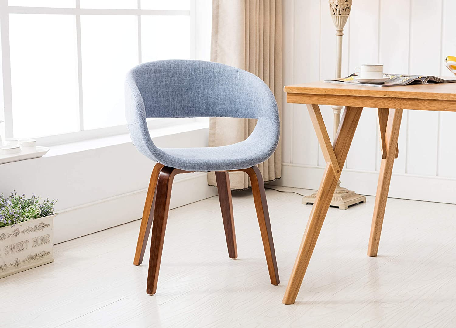 Porthos Home s Mid-century Style Dining Chair With Fabric upholstery, One Size, Blue