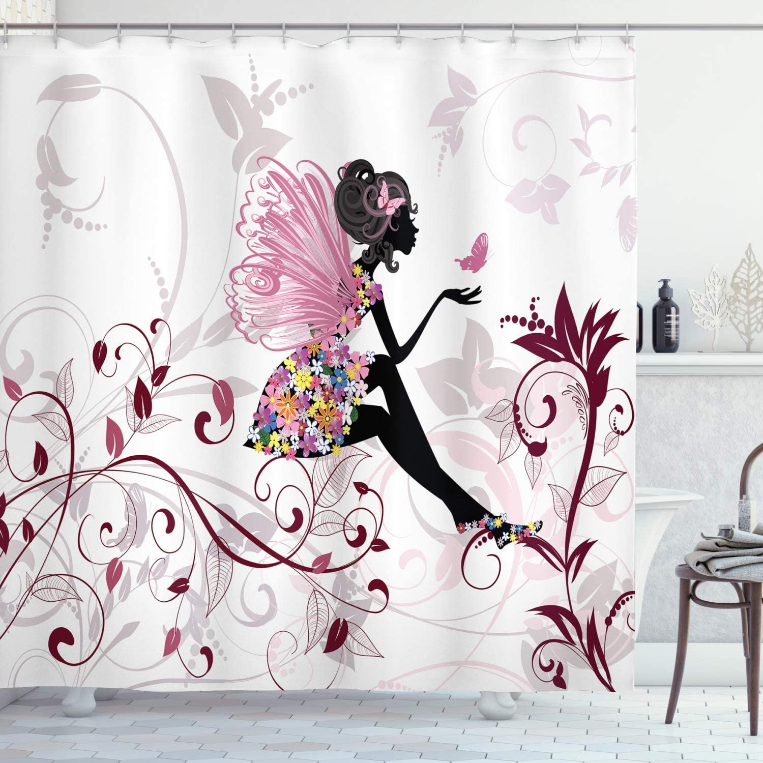 """Ambesonne Princess Shower Curtain, Flower Fairy with Butterflies Wings Branches Ornaments Floral Spring Forest, Cloth Fabric Bathroom Decor Set with Hooks, 70"""" Long, Pink White"""