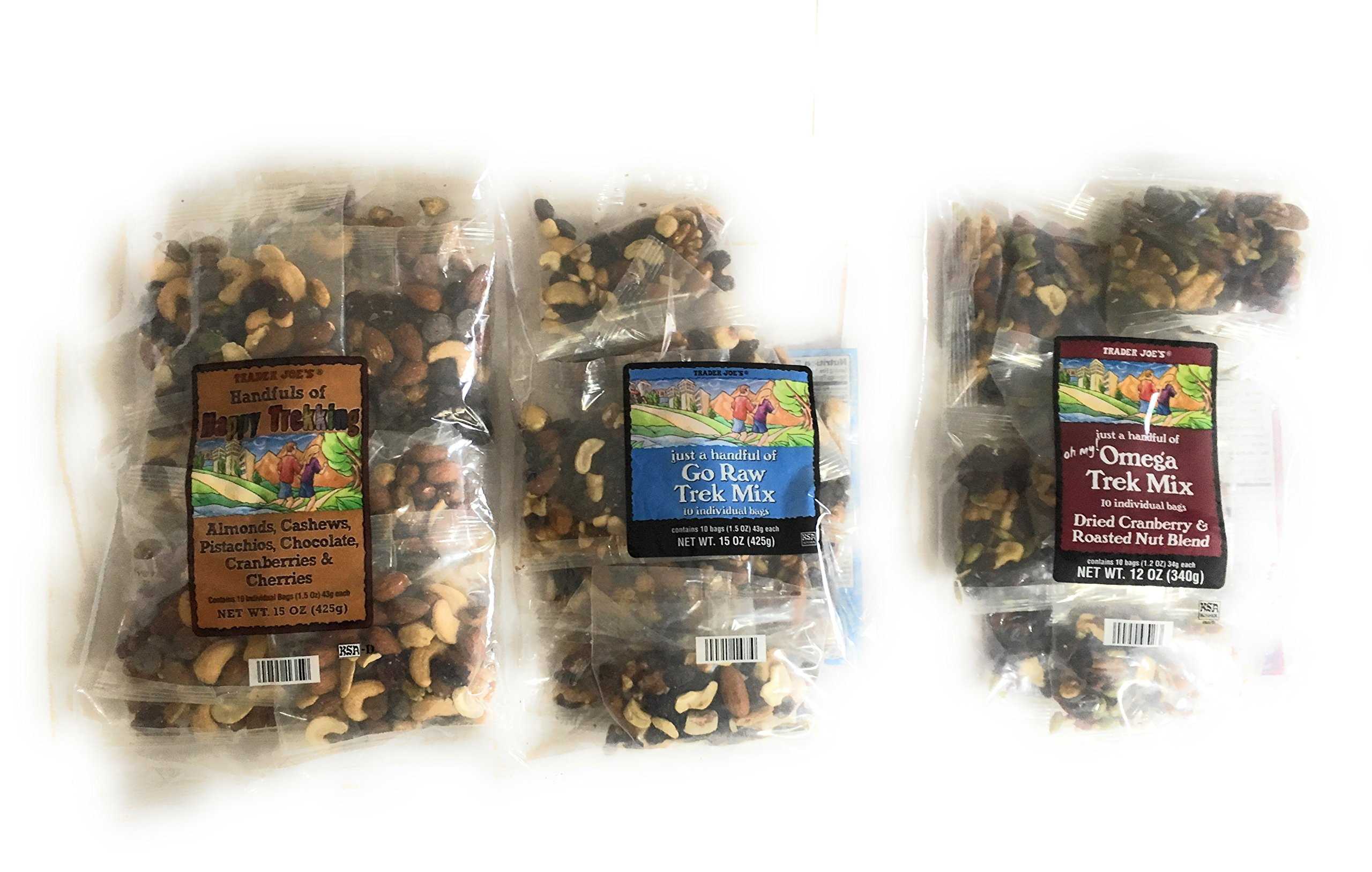 Trader Joes Trail Mix Snack Bundle - 1 Omega Trek, 1 Happy Trekking, and 1 Go Raw Pack - Each with Individual Mini Packets of Mixed Nuts - A Healthy Assortment for Adults and Kids by TJ's (Image #2)