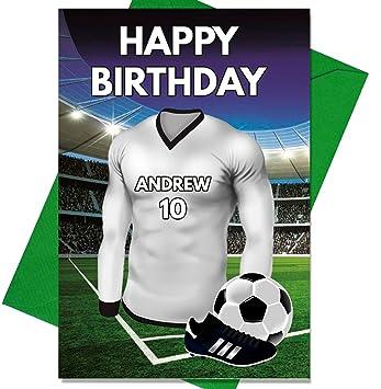 Personalizado REAL MADRID camiseta de fútbol Tarjeta de cumpleaños - cualquier nombre y número: Amazon.es: Hogar