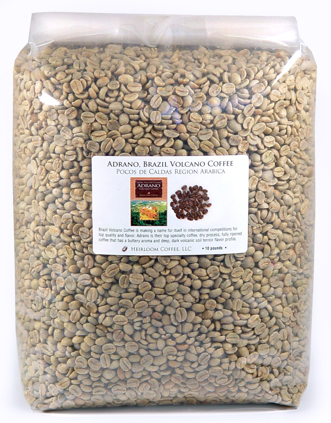 Brazil Adrano Volcano Coffee, Green Unroasted Coffee Beans (10 LB) by Heirloom Coffee LLC