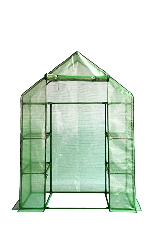 GARDEN COMPACT WALK IN GREENHOUSE FRAME SHELVES /& REINFORCED COVER COLD FRAME
