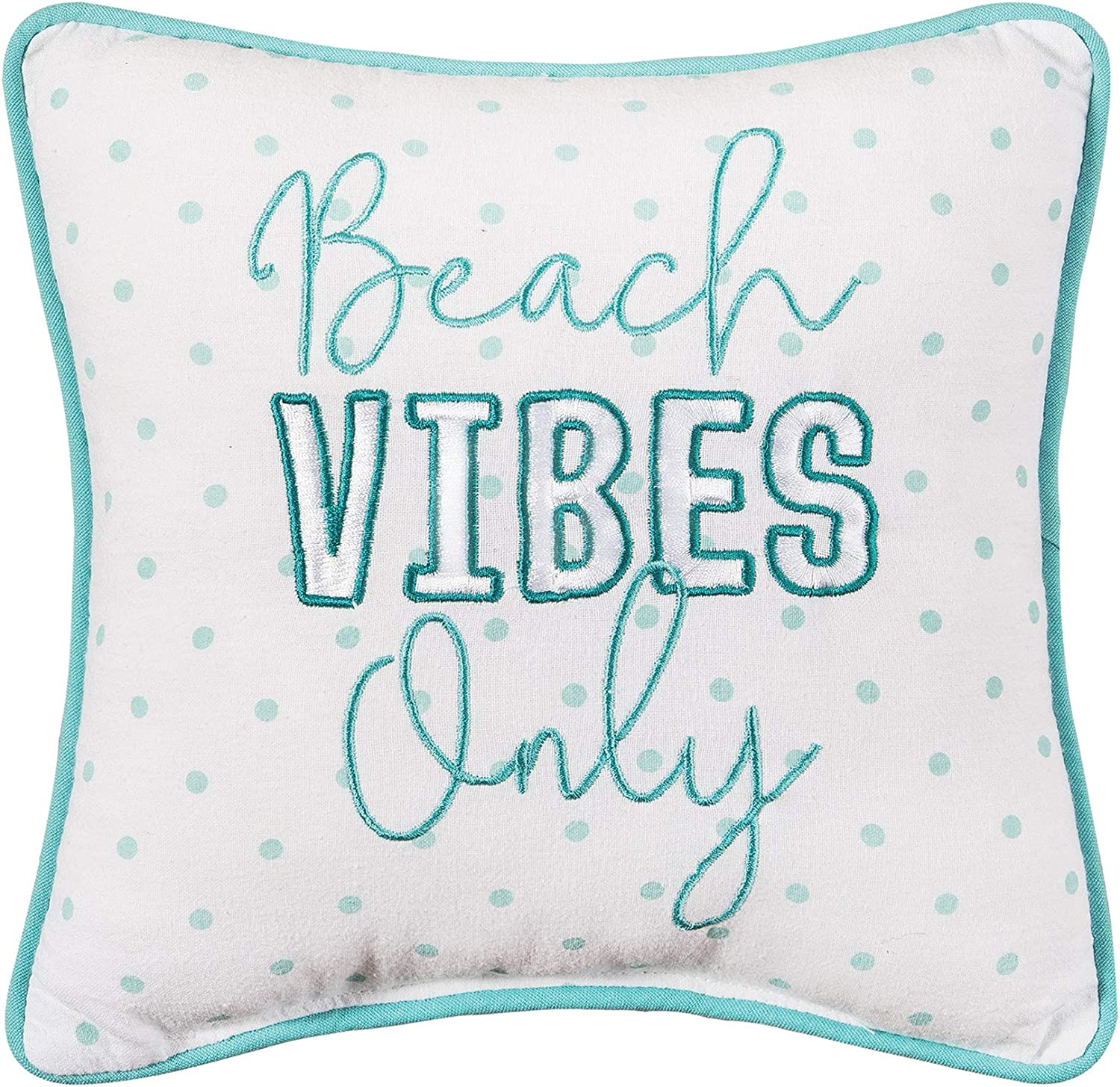 C&F Home Beach Vibes Only Decorative Accent Throw Pillow Square with Funny Saying Polka Dots Home Decor for Bed Sofa Couch Chair 10 x 10 Blue