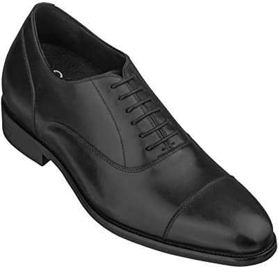 CALTO Men's Invisible Height Increasing Elevator Shoes - Black Premium Leather Lace-up Super Lightweight Formal Oxfords - 3 Inches Taller - S3032 | Oxfords