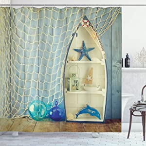 "Ambesonne Nautical Shower Curtain, Nautical Boat Standing Against The Wall Other Aquatic Objects Sea Featured Picture, Cloth Fabric Bathroom Decor Set with Hooks, 75"" Long, Blue Beige"