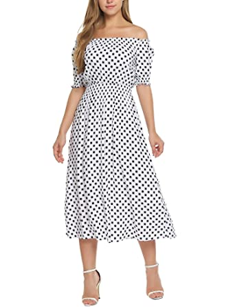 6f8ec74d5e3 Zeagoo Women Casual Polka Dot Print Off The Shoulder Boho Long Maxi Dresses  White L