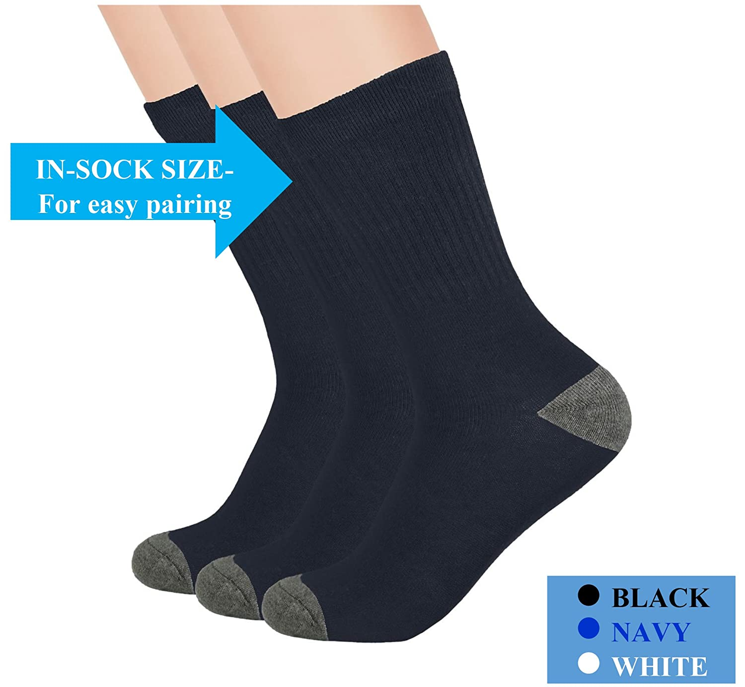 Boys Crew Socks - Boys Athletic Socks - Ribbed, Breathable, Cushioned - 3 and 6 Pack - by Topfit