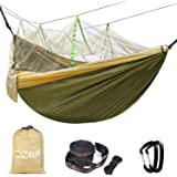 "Double Camping Hammock With Mosquito Net EZfull - 660LBS Bearing Portable Outdoor Hammocks,10ft Hammock Tree Straps & 12KN Carabiners For Backpacking Camping Travel Beach Yard. 118""(L) x 78""(W)"