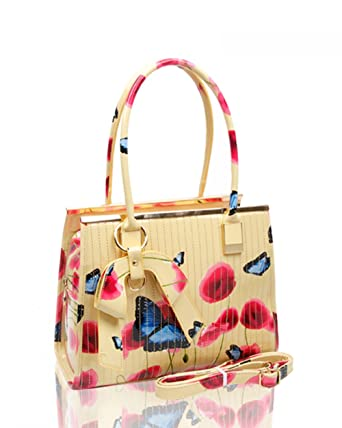 97ea9fd2a1ad Ladies Women s Fashion Designer Patent Butterfly Print Shoulder Bag Hot  Selling Shinny Cross Body Handbag CWRJ150601 (Almond)  Amazon.co.uk   Clothing