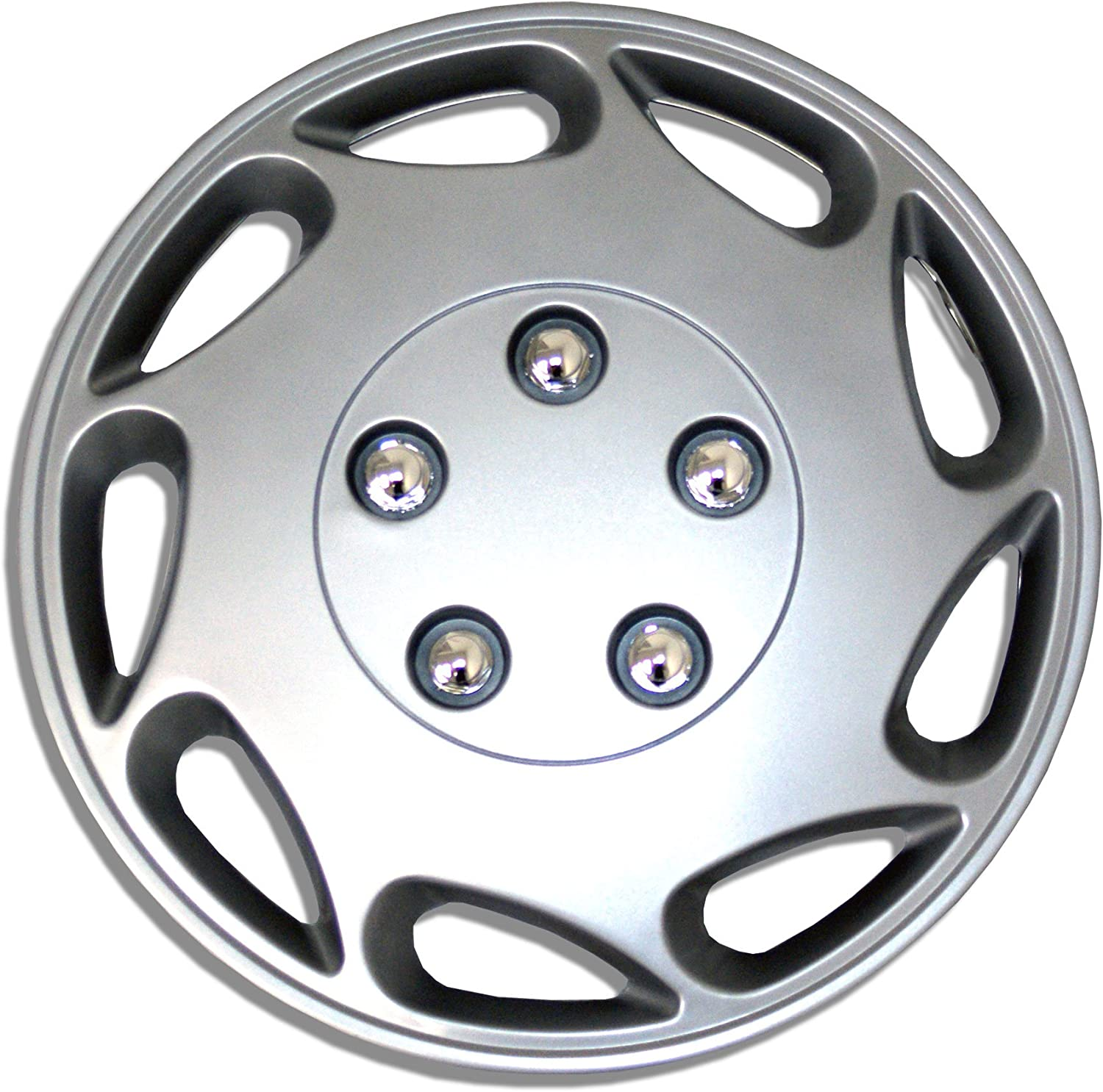 TuningPros WC-15-807-S 15-Inches-Silver Improved Hubcaps Wheel Skin Cover Set of 4