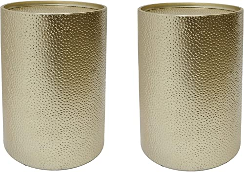 Christopher Knight Home Kaylee Modern Round Hammered Iron Accent Table 2 Pack