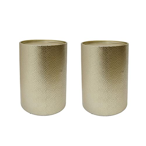 Christopher Knight Home Kaylee Modern Round Hammered Iron Accent Table 2 Pack -Gold