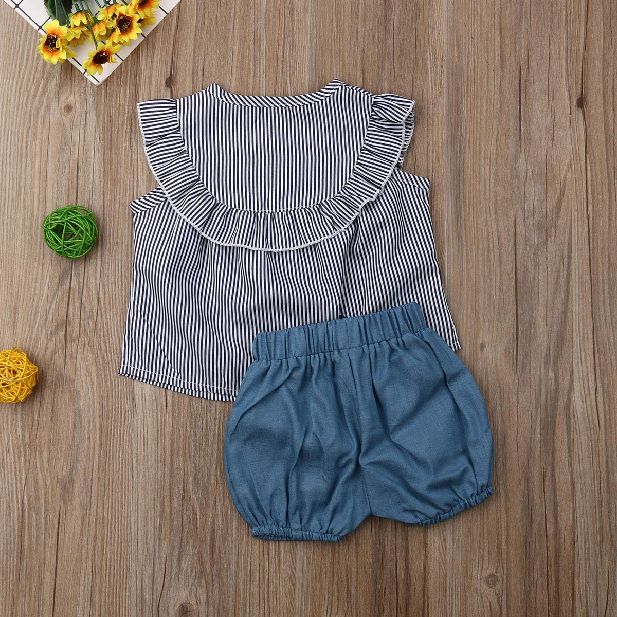 Baby Girls Ruffle Dress Tops Sleeveless Vest Stripe Casual Overall Button Down Romper Short Pants 2PCS Outfits