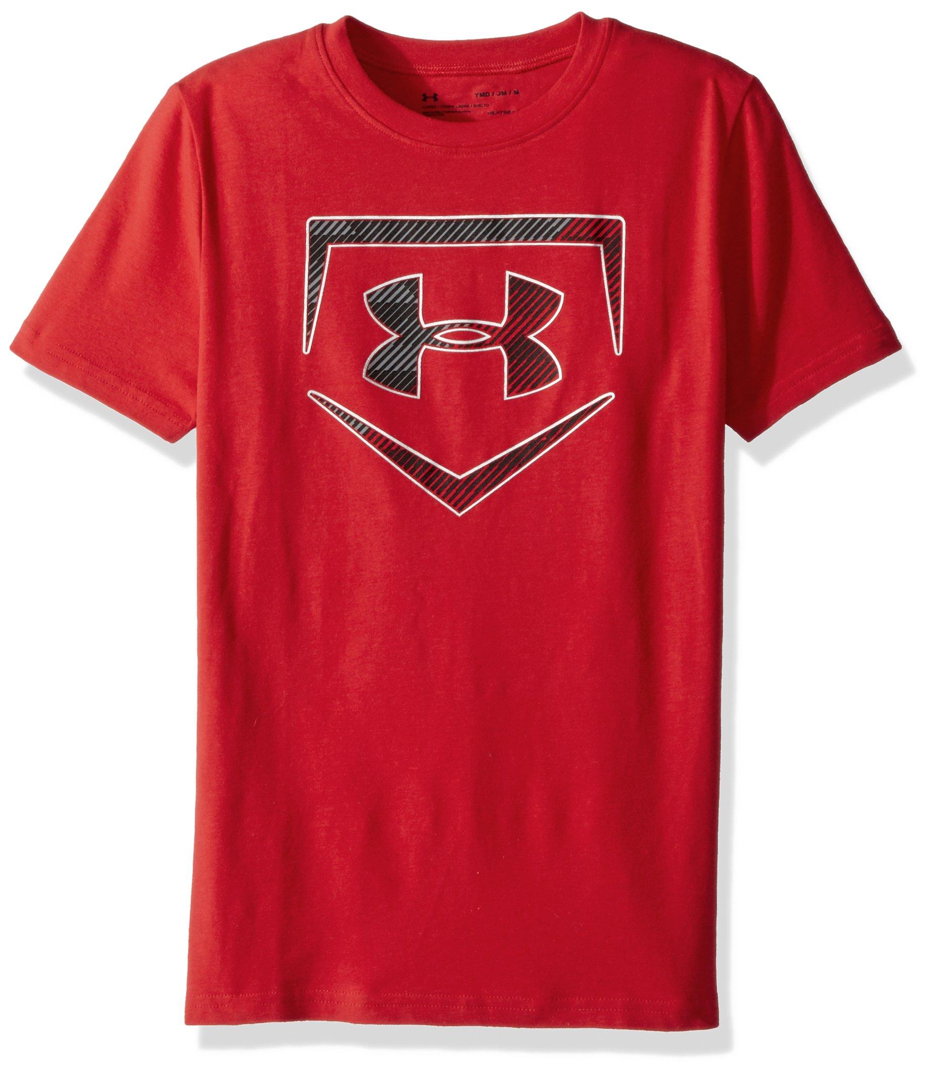 Under Armour Boys' Baseball Logo T-Shirt,Red (600)/Metallic Silver, Youth Medium