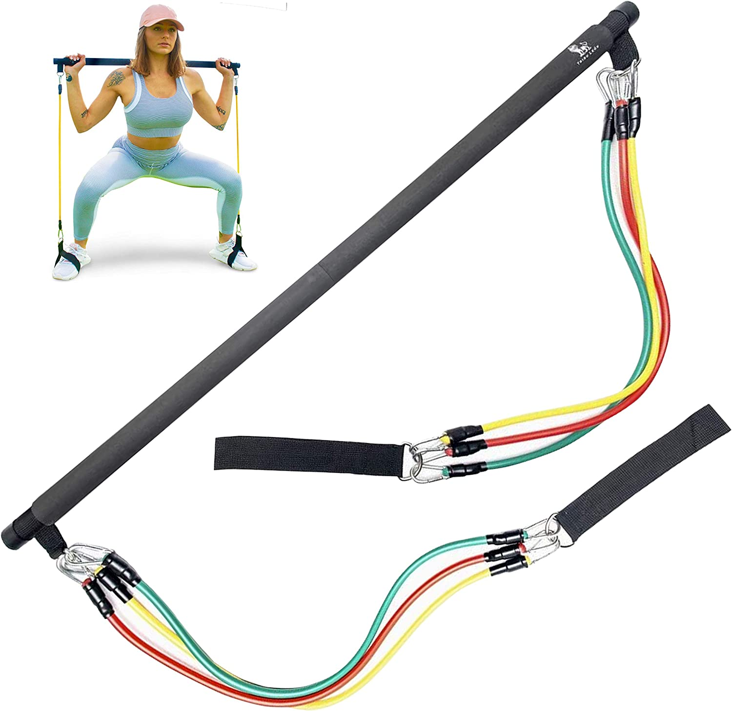 Tribu León Pilates Bar Resistance Bands Set | Exercise Bands for Men & Women | Home Gym Workout | Portable Exercise Equipment | Full Body Workout Set | Weights | Total Gym Equipment for Home | Fitness