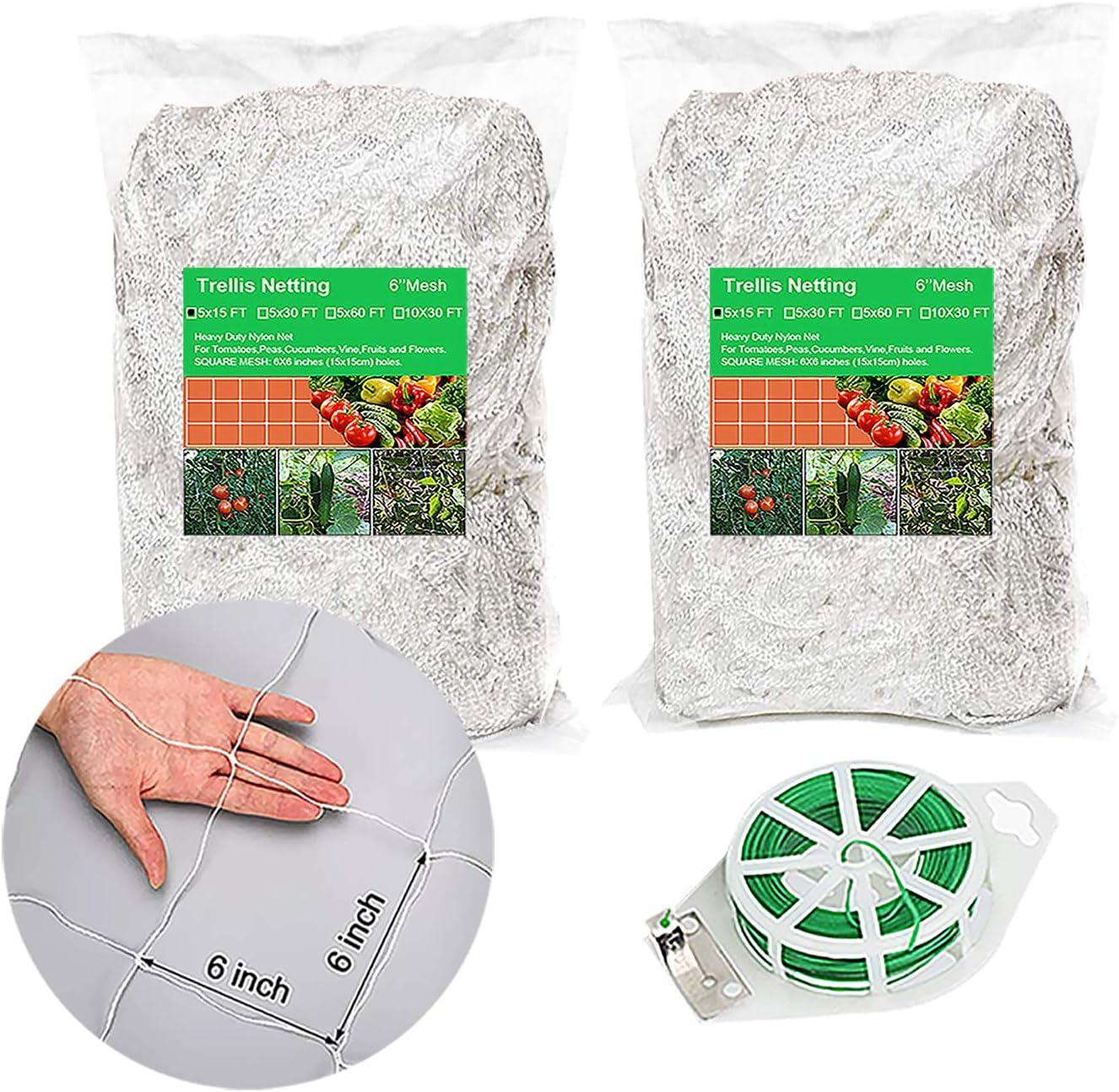 Trellis Netting 2 Packs (5X15FT) Garden Netting for Plants Heavy-Duty Polyester Garden Net Plant Support Growing Vine Climbing Flexible String Net 6'' Mesh
