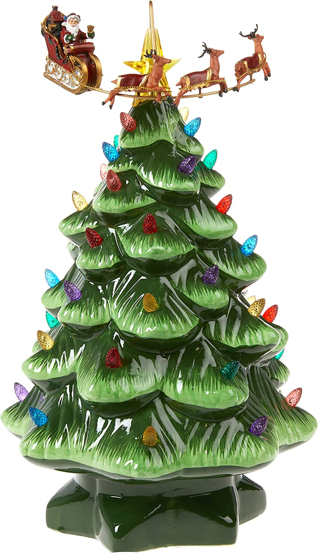 Mr. Christmas Animated Nostalgic Tree Christmas Décor, 14-inch, Green