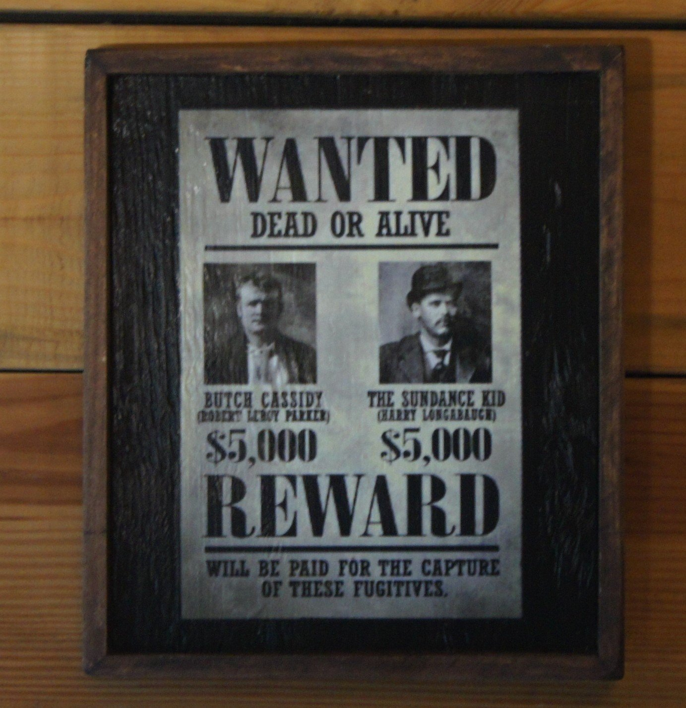 Vintage Butch Cassidy and the Sundance Kid Wanted Poster in a framed sign by Wooden Crow Company