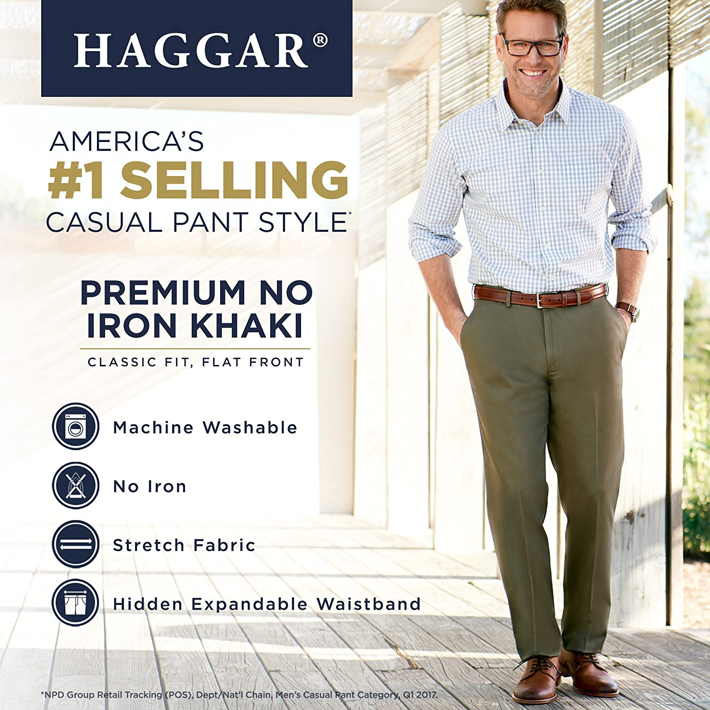 Men/'s Haggar Classic Fit Premium No Iron British Khaki Flat Front Pants
