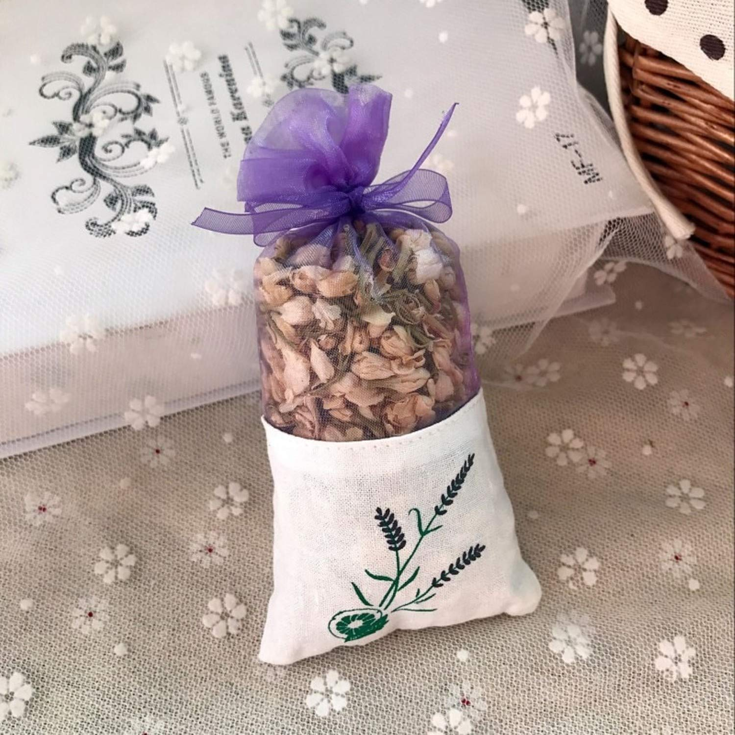 Dried Flowers - Natural Rose Flowers Jasmine Lavender Bud Dried Flower Sachet Bag Aromatherapy Wardrobe Desiccant Sachet car Room Air Refreshing (Jasmine)