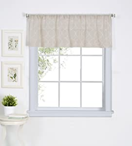 """Elrene Home Fashions Taylor Embroidered Rod Pocket Café/Kitchen Valance Window Curtain, 60"""" x 15"""", Linen, 1"""