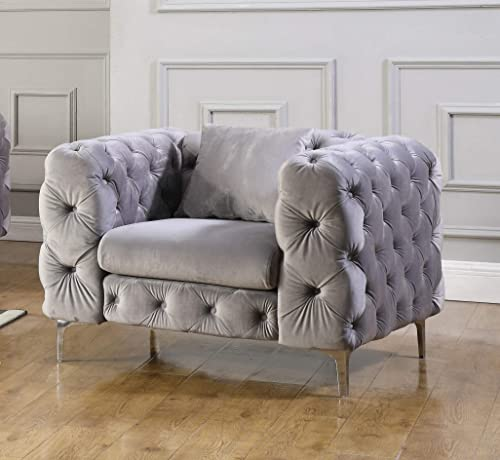 Cheap Best Master Furniture Felicity Contemporary Tufted Velvet Living Room Chair living room chair for sale