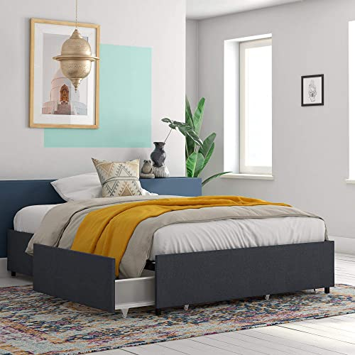 REALROOMS Alden Platform Bed with Storage Drawers, Queen Size Frame, Blue Linen