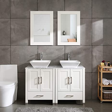 Amazon Com 48 Double Sink White Bathroom Vanity Cabinet Solid Wood W Marble Top Mirror Faucet Drain Set Kitchen Dining