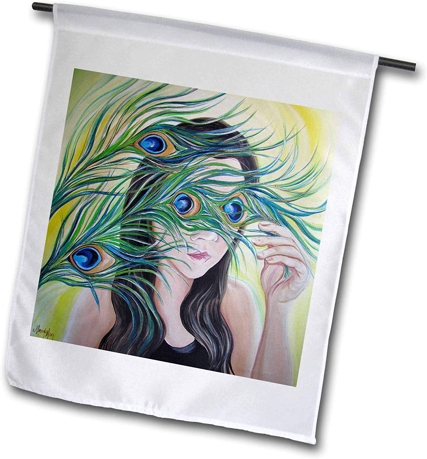 3dRose Image of a Shy Girl Holding Peacock Feathers in Front of her face. - Flags (fl_334347_1)