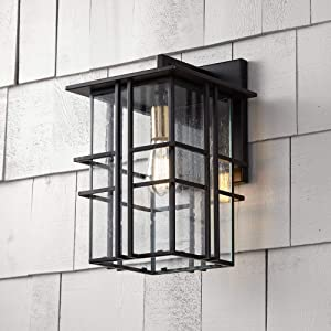 Arley Modern Contemporary Outdoor Wall Light Fixture Black Geometric Frame 16