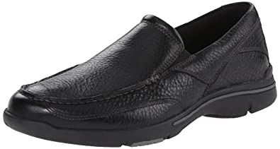 Rockport Men's Eberdon Slip-on Loafer- Black Leather/Flint-6.5 W