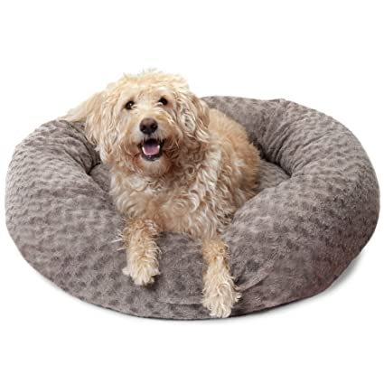 15332fdac198 Furhaven Pet Donut Bed   Deep Dish Curly Fur Donut Pet Bed for Dogs & Cats