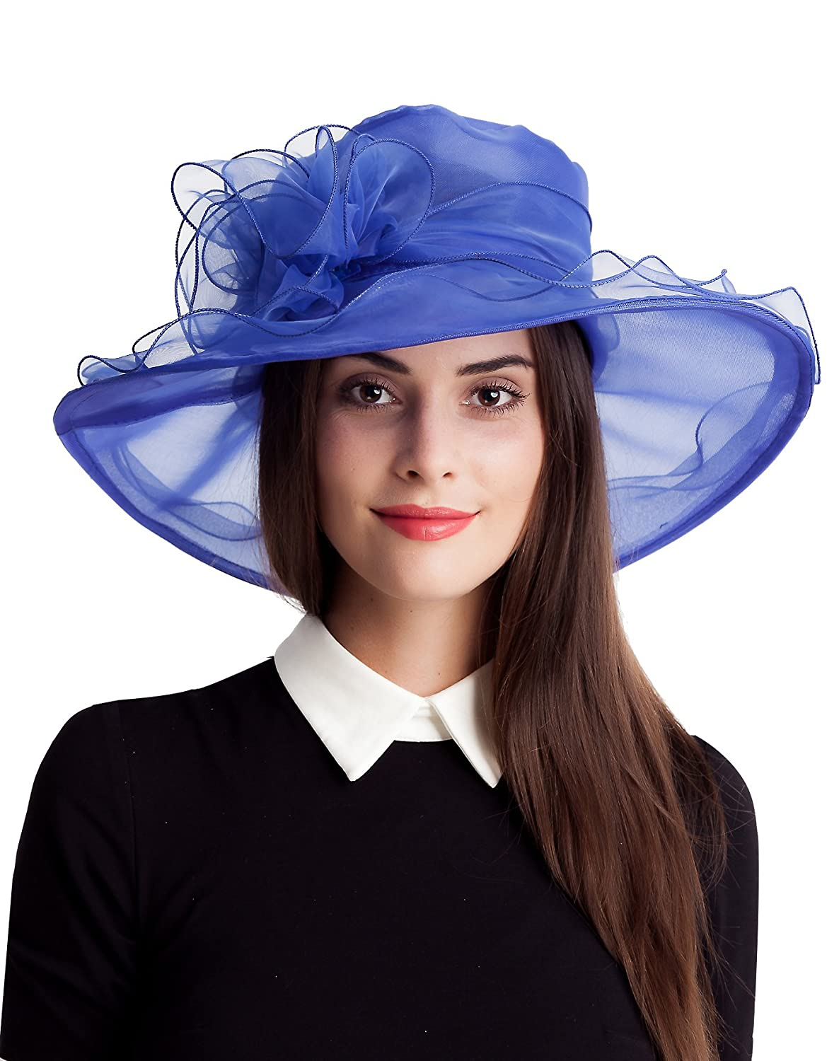4e83ebe5fe991 Seven Flowers Ladies Tea Party Kentucky Derby Hat Women Easter Church  Wedding Hats (10-Blue) at Amazon Women's Clothing store: