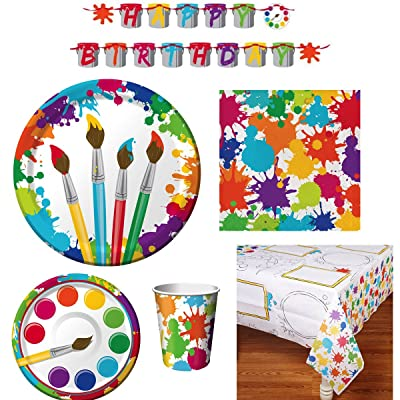 Art Party Supply Pack - includes Dinner and Dessert Plates, Cups, Napkins, Tablecover and Banner (16 Guests): Toys & Games
