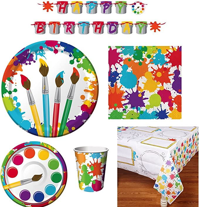 Amazon Com Art Party Supply Pack Includes Dinner And Dessert Plates Cups Napkins Tablecover And Banner 16 Guests Toys Games