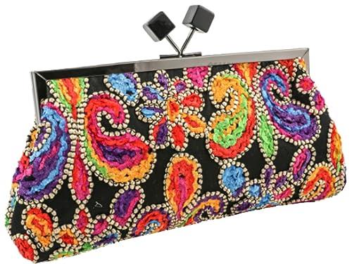 Mis Bolsos Online bolso clutch de fiesta bordados multicolor: Amazon.es: Zapatos y complementos