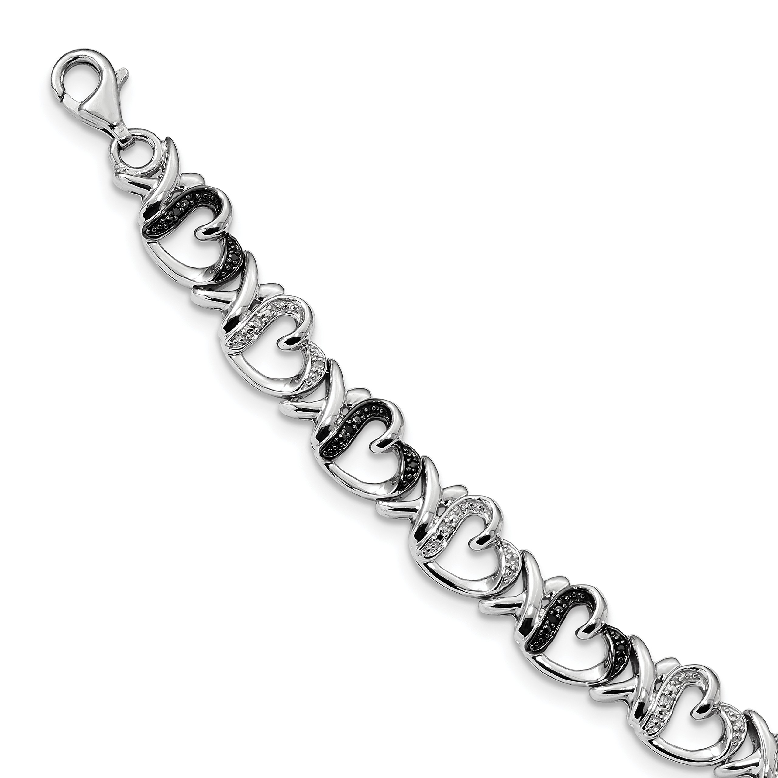 ICE CARATS 925 Sterling Silver Black White Diamond Bracelet 7.5 Inch /love Fine Jewelry Gift Set For Women Heart by ICE CARATS (Image #1)
