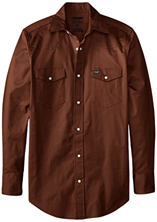 4fccdb72 Wrangler Men's Big-Tall Advanced Comfort Big & Tall Long Sleeve Workshirt,  Brown,