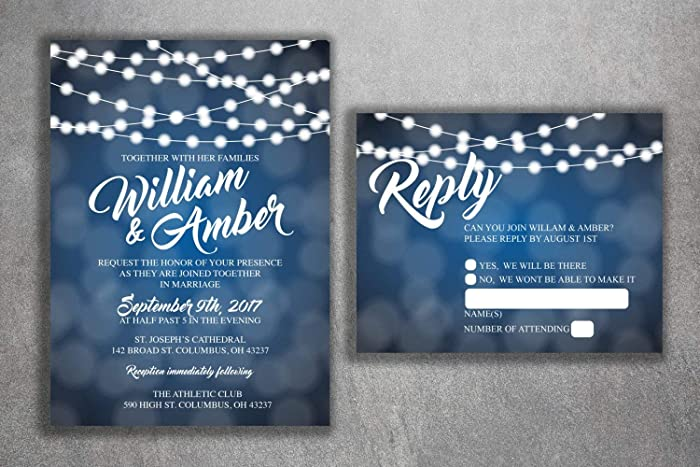 Amazon Com Blue And White Lights Wedding Invitations Set Printed