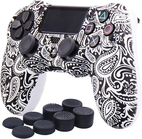 YoRHa Transferencia de agua Impresión (flor) Estuche de piel con cubierta de silicona para Controlador Sony PS4 / slim / Pro x 1 (Blanco) Con empuñaduras Pro x 8: Amazon.es: Videojuegos