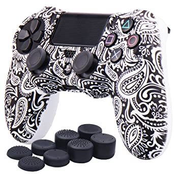 YoRHa Water Transfer Printing Flowers Silicone Cover Skin Case for Sony PS4/slim/Pro Dualshock 4 Controller x 1(White) with Pro Thumb Grips x 8