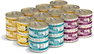 Weruva Cats in The Kitchen, Goldie Lox and The 3 Fares Grain Free Canned Cat Food Variety Pack, 6oz Can (Pack of 24)