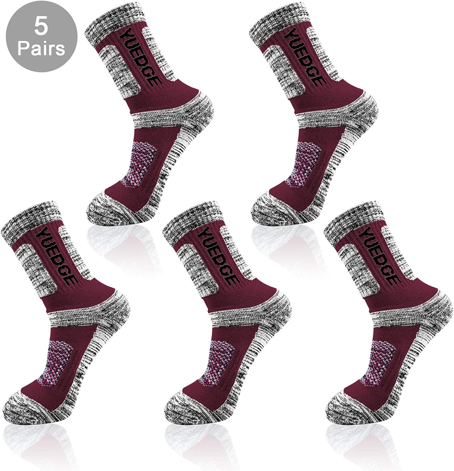 Climbing Camping YUEDGE 5 Pair Mens Athletic Performance Crew Socks Moisture Wicking Sports Socks for Outdoor Recreation Trekking
