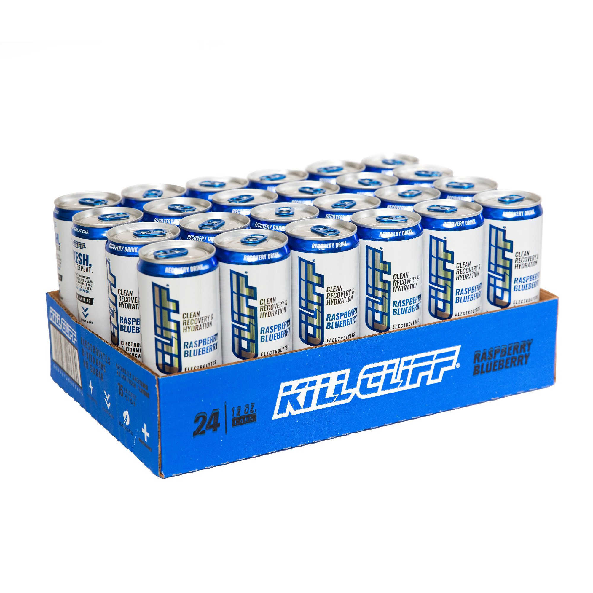 Kill Cliff Electrolyte Recovery Drink, Raspberry Blueberry, 12 Ounce, 24 Count; Low Cal, No Sugar