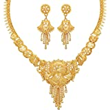 Mansiyaorange Party Collection Jewellery Neckalce Sets for Women (One Gram Golden)