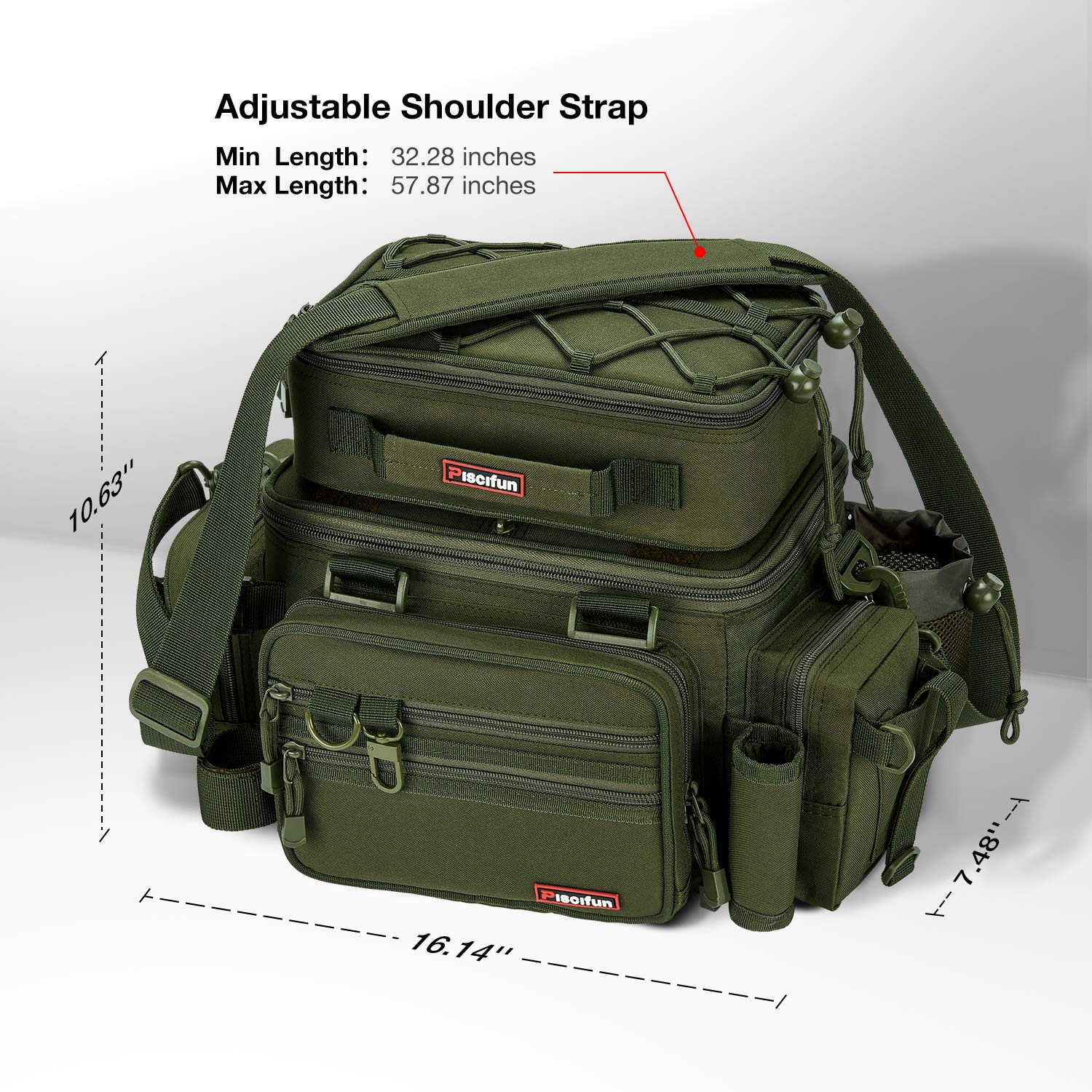 Piscifun Outdoor Fishing Tackle Box Bag Military-Grade Multifunctional Large Storage Tackle Pack