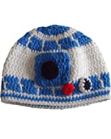 Milk protein cotton yarn handmade baby R2D2 hat - fits preteen, teen and adult female