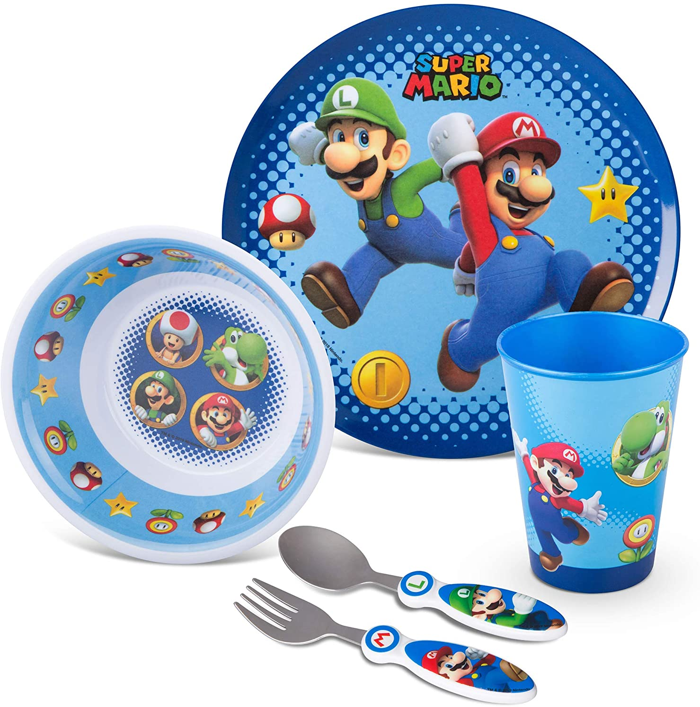 Franco Kids Dinnerware Cartoon Designed Mealtime Kitchen Set, 5 Piece Pack, Super Mario