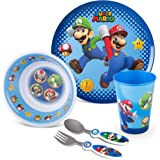 Franco Kids Dinnerware Cartoon Designed Mealtime Kitchen Set, 5 Piece Pack, Super Mario